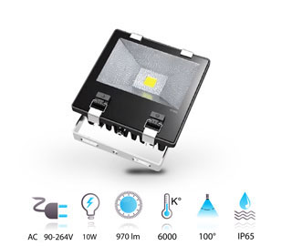 10w projecteur led performance COB 230v IP65 blanc-froid