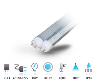 10w tube led g13 compatible ballast 230v chaud-neutre