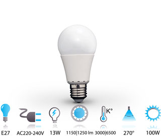 13w ampoule led e27 nano-technologie 220v chaud-froid