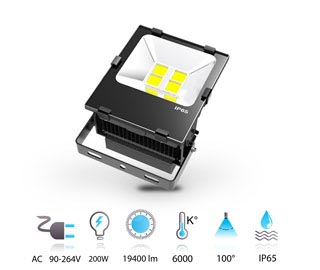 200w projecteur led performance COB 230v IP65 blanc-froid