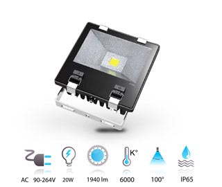 20w projecteur led performance COB 230v IP65 blanc-froid