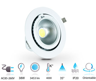 38w downlight led 230v COB rond ajustable IP20 blanc-neutre