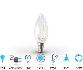 3w ampoule bougie led filament e14 220v blanc chaud