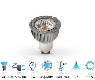 4w spot led cob gu10 220v chaud-neutre