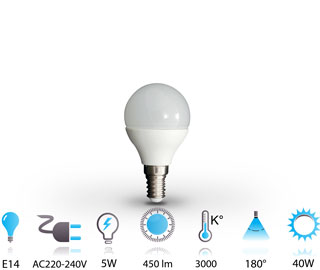 5w ampoule led e14 nano-technologie 220v chaud