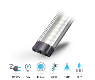 5w reglette led 12v neutre touch-dimmable
