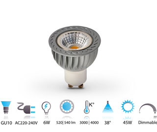 6w spot led cob gu10 dimmable 220v chaud-neutre