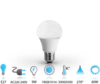 9w ampoule led e27 nano-technologie 220v chaud-neutre