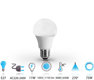 11w ampoule led e27-nano-technologie 220v chaud-neutre