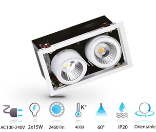2x15w downlight led grille 230v COB rectangulaire ajustable IP20 blanc-neutre